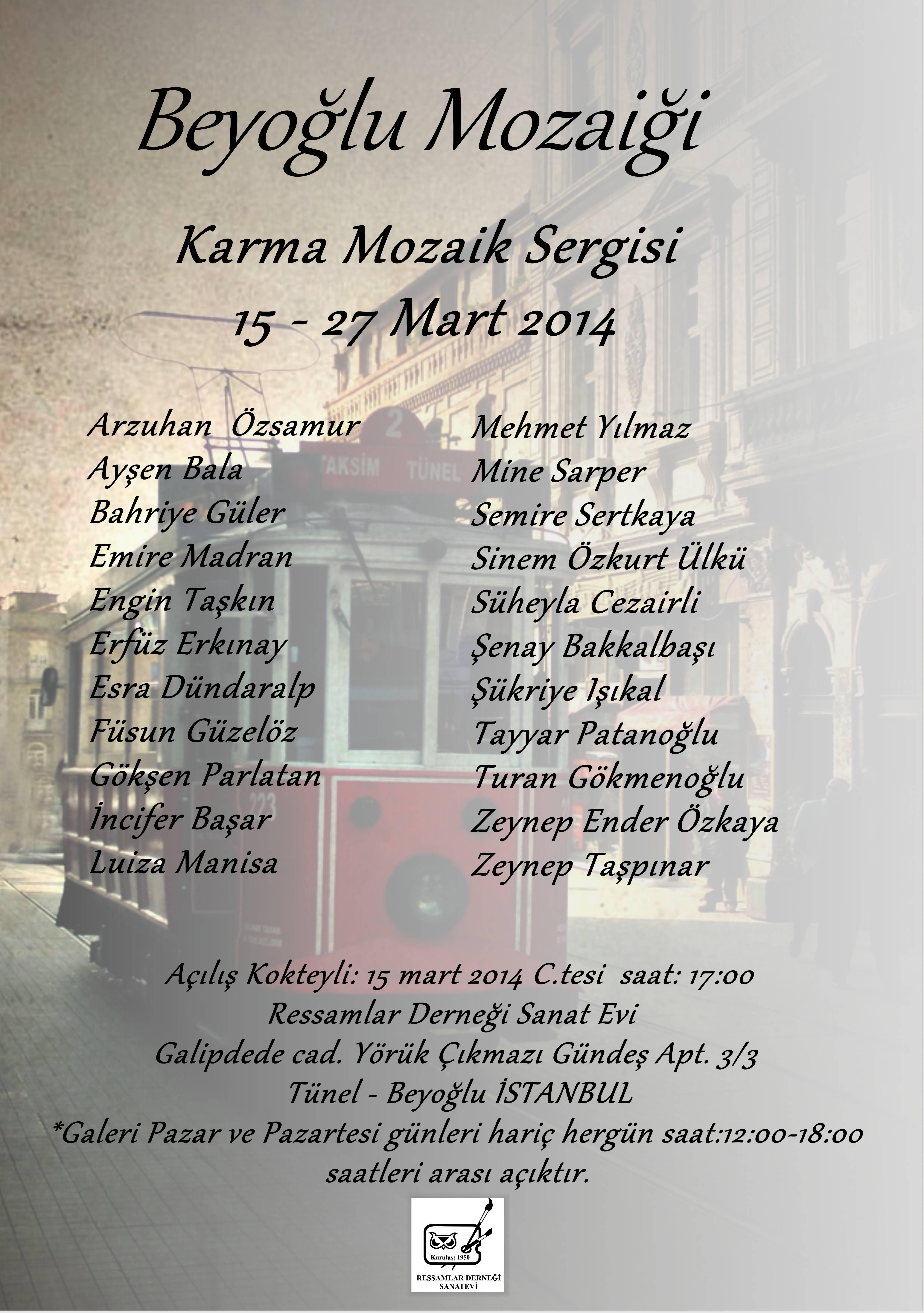 """""""Beyoğlu Mozaiği"""" Karma Mozaik Sergimize Bekliyoruz…"""
